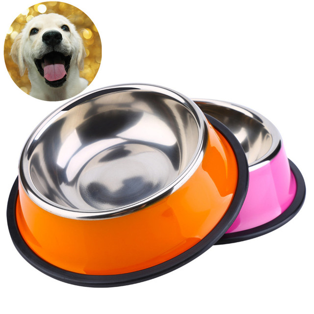 Dog Bowl Stainless Steel Anti Skid Pet Cat Food Water Feeding Bowls