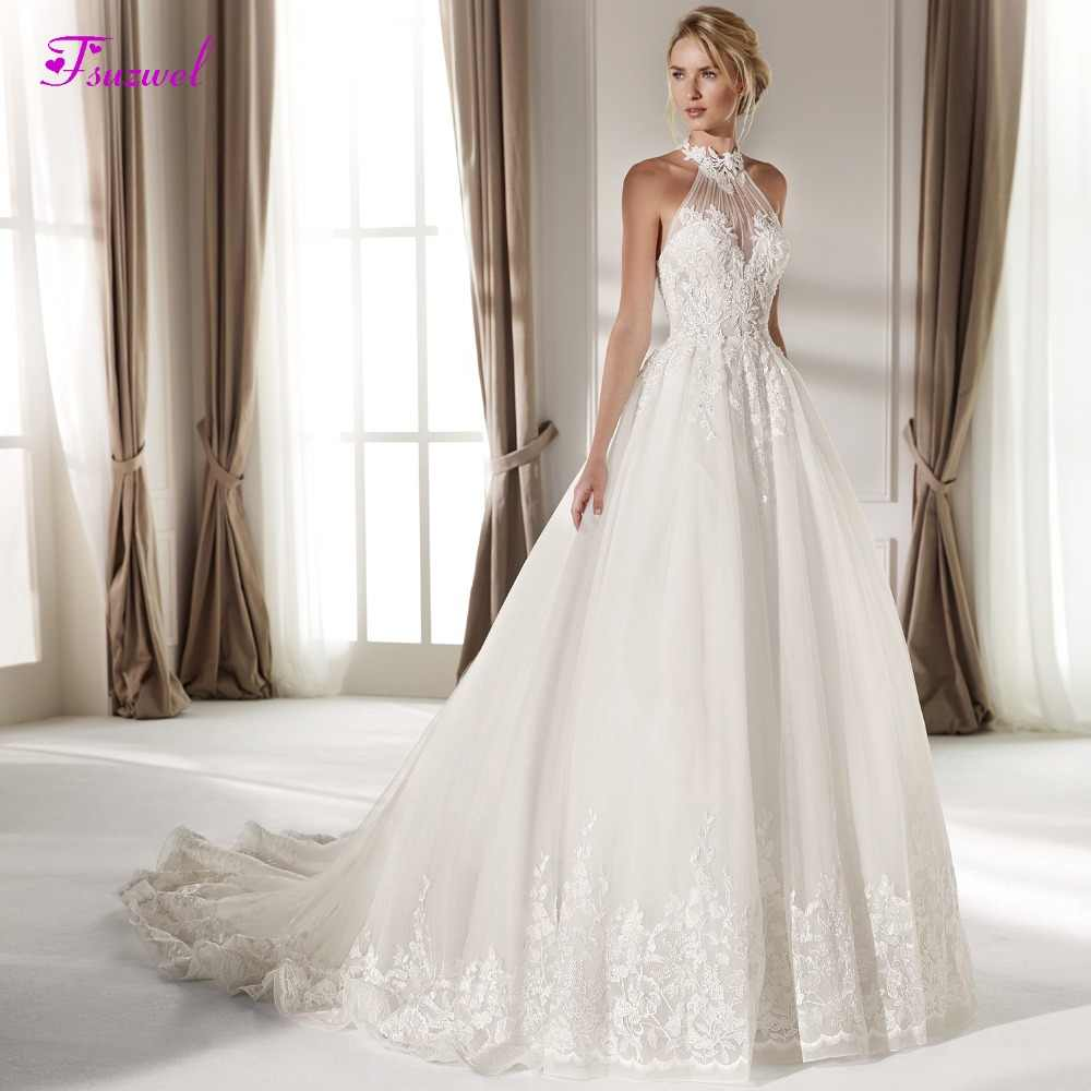 Fsuzwel Romantic Halter Neck Appliques A-Line Wedding Dresses 2019 Luxury Beaded Off the Shoulder Princess Bride Gown Plus Size