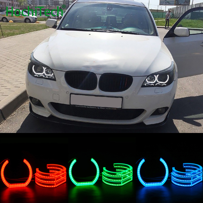 RGB Crystal Multi-Color DTM Style LED Angel Eyes Halo Rings Light kits For BMW 5 SERIES E60 E61 LCI 525i 528i 530i 545i M5 07-10 for bmw e60 e61 lci 525i 528i 530i 535i 545i 550i m5 xenon headlight excellent drl ultra bright smd led angel eyes kit