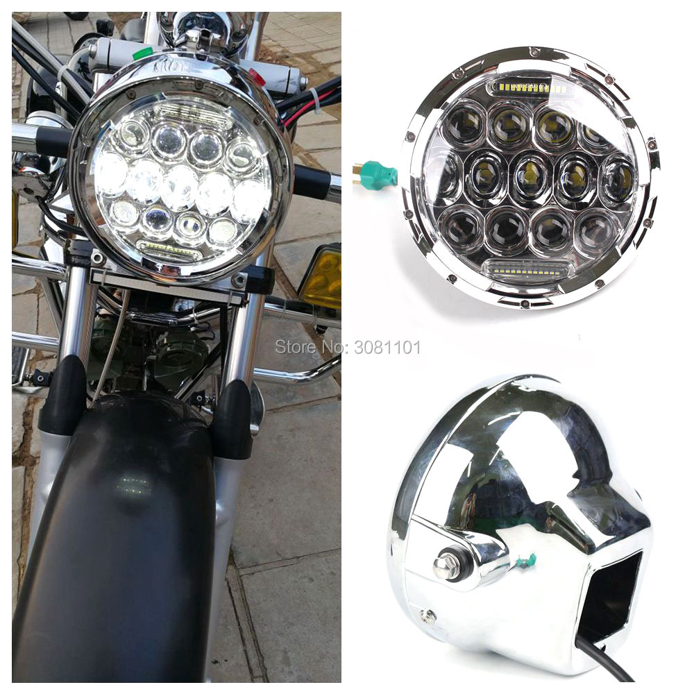 Set 7 Off Road H4 Light LED Round Headlight Projector Daymaker +7 Light Shell for 2001-2014 Harley Davidson Heritage Softail
