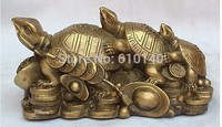 China Chinese Brass Pure Fengshui 3 Dragon turtle Yuanbao Cion wealth Statue
