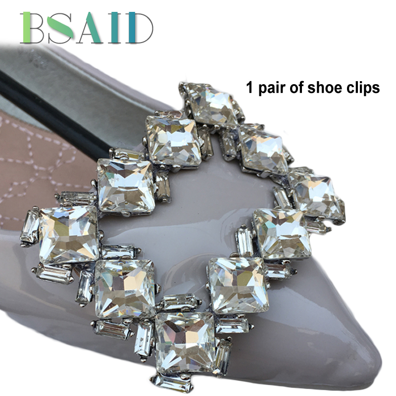 BASED 1 Pair Shoe Clips Decoration Retro Rhinestone Pin Clip Shoe Decorations For Women Shoes Charms Fashion Crystal Accessories fashion crystal rhinestone shoe flower charms clip gem women s shoes accessories wedding shoes decoration 1pair free shipping