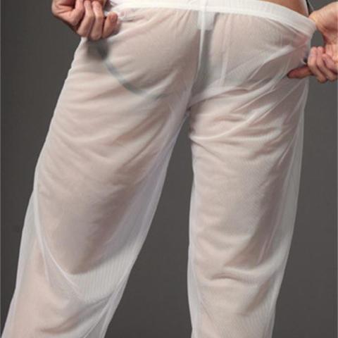 Transparent Long Pants Sexy Men Loose Mesh Lounge Loose-Fitting Fitness Pants Pyjama Trouser Sleep Pant Gay Lingerie FX1016 Islamabad