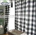 Paño de la rejilla blanco y negro estilo europeo cortinas semi-sombra cortinas de tela a cuadros para dormitorio y salón