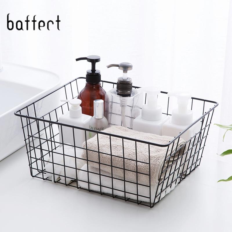 Ev ve Bahçe'ten Saklama sepetleri'de Metal depolama sepeti keten banyo tuvalet kozmetik depolama sepeti organizatör çamaşırhane dekorasyon mutfak meyve title=