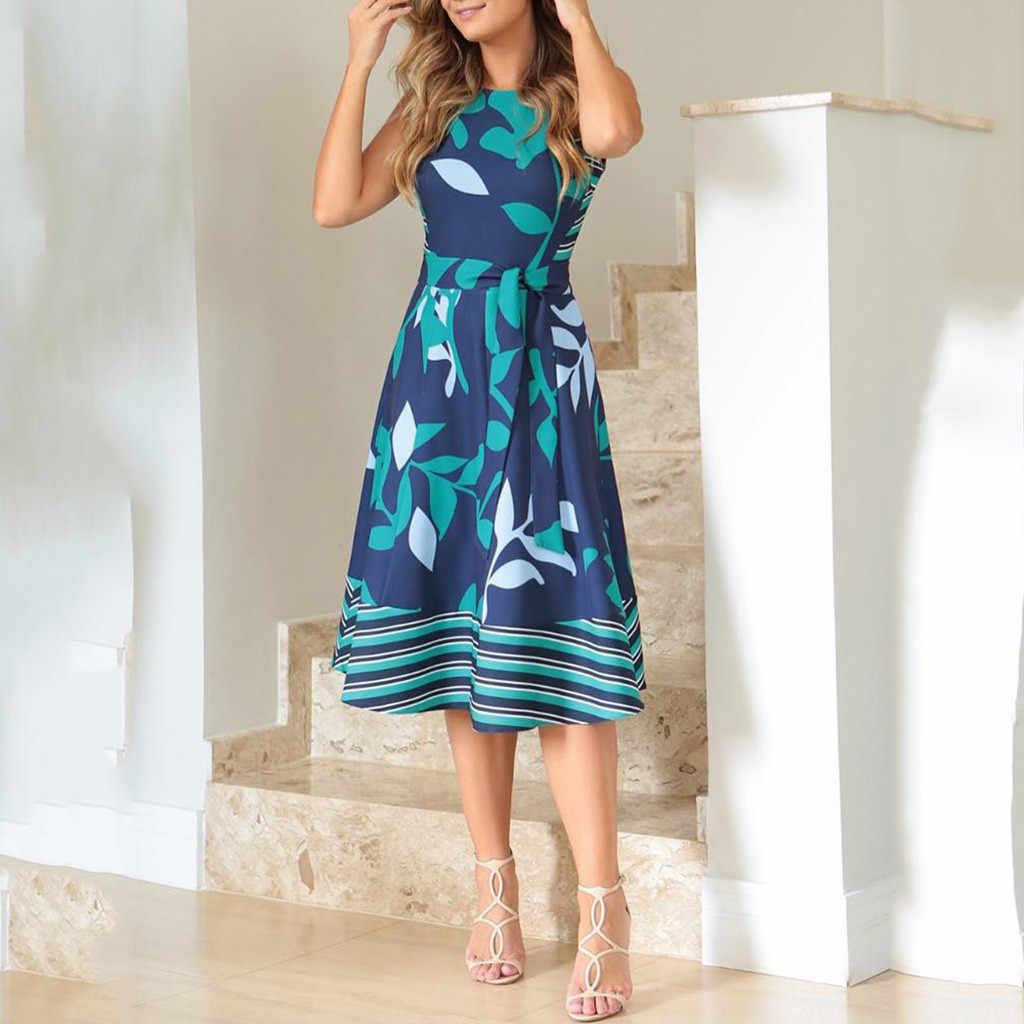 Vestidos de Mulheres Verão 2019 Plus Size O Pescoço Sem Mangas Boho Imprimir Caixilhos UMA Linha de Vestido Ocasional Das Senhoras vestido de Verão Praia Robe vestido # B