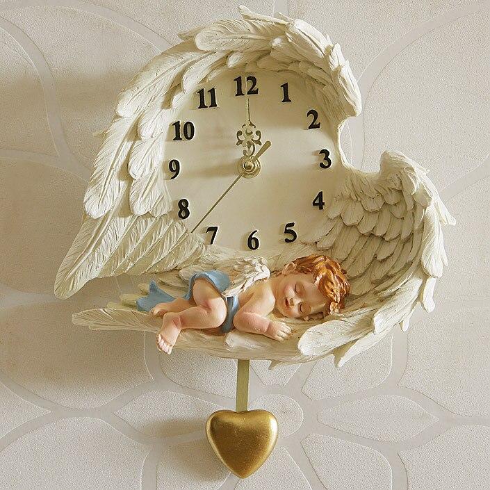 Horloge murale créative ange suspendu salon jardin personnalité art mural européen pendule décorative horloge enfant
