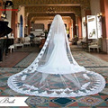 3 meters White Vintage Style Lace Cathedral Wedding Veils Applique Edge Long One Layer Bridal Veils