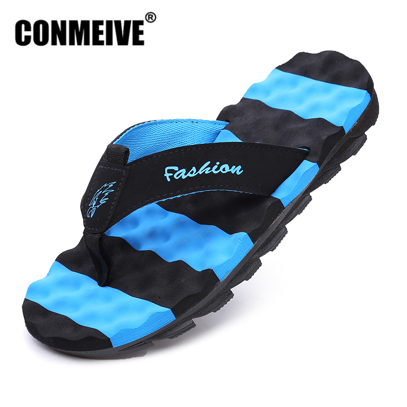 CONMEIVE Summer Men's Flip Flops Fashion Brand Rubber Anti-slip Male Beach Slippers Outside Sandals 2018 Good Quality Men Shoes