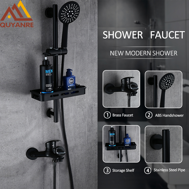 Quyanre Black Shower Faucets Set 3 Function Handshower Brass Mixer Tap Faucet With Storage Shelf Hooks