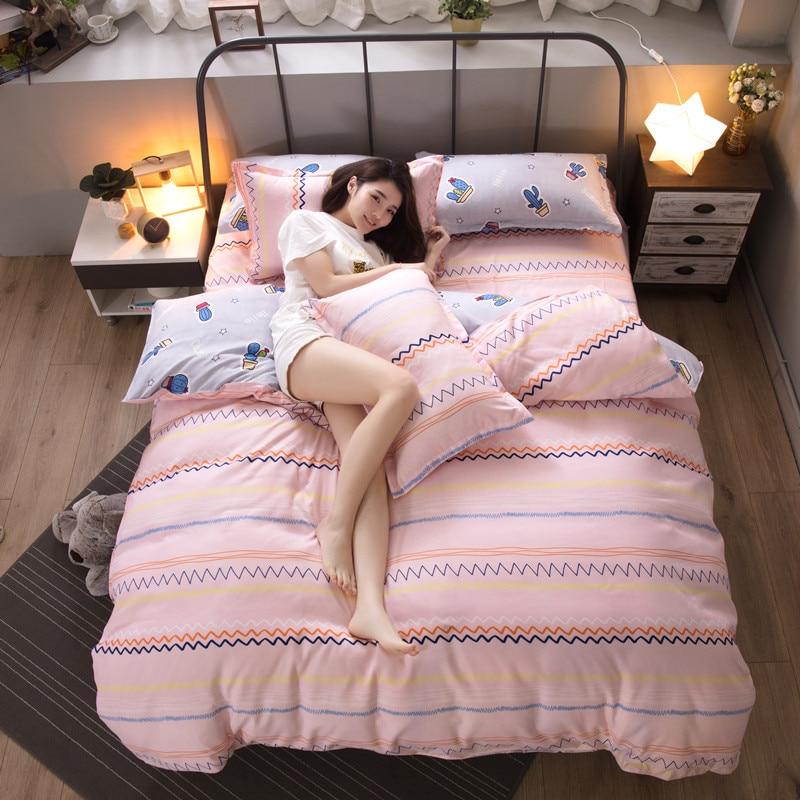 Home Textile pure cotton cartoon bedding set cute bedding flowers romantic Duvet Cover Set Bed Sheet quilt cover bedding