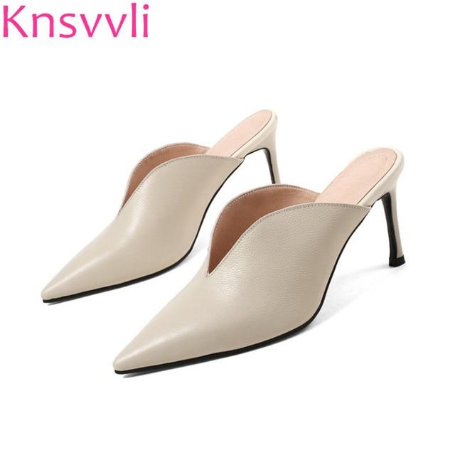 14c268dc85090 Beige Wrap Toe Mixed Color Belt Buckle Vervel Women Mules Heels Genuine  Leather Pointy Black Stiletto Slippers Woman