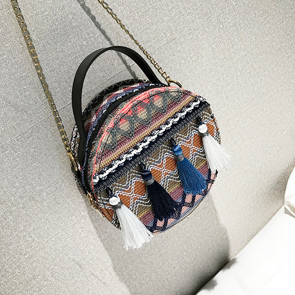 Women Tassel Chain Small Bags national wind round bag packet Lady Fashion Round Shoulder Bag Bolsos Mujer#A02 97