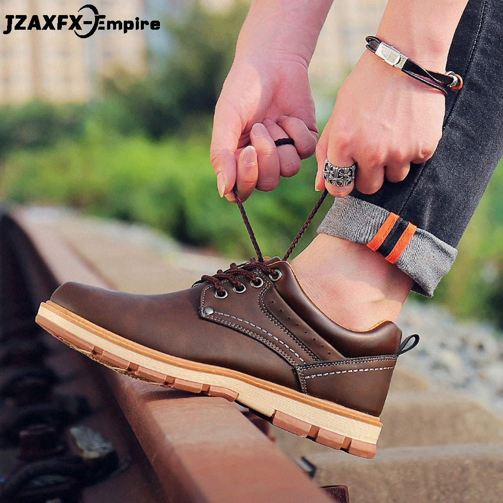 2019 Brand New Fashion Men's Casual Leather Shoes Lace Up Travel Sneaker Male Oxford Work Shoes Zapatillas Deportivas
