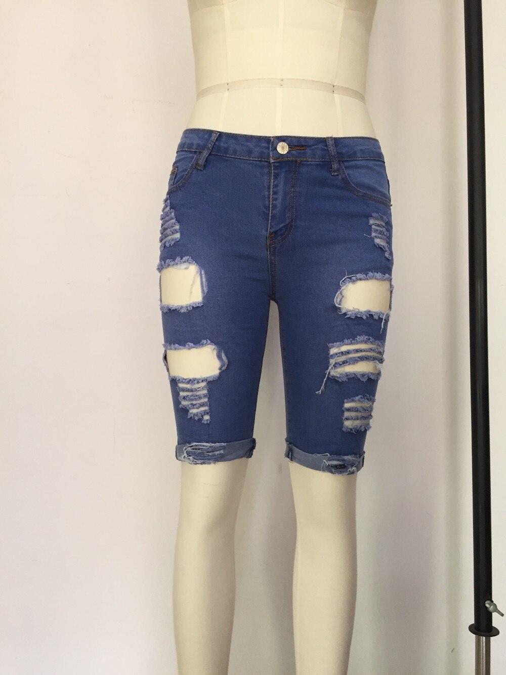 Longueur genou Déchiré Jeans pour Femme Trous Short En Jean Grande Taille à Taille  Haute Jeans Taille Haute Femmes Jean femme 78649 dans Shorts de Mode ... 2c1da9c8c35