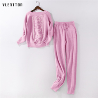 2019 Autumn Winter Pink Knitted 2 Piece set Women Pearl Pullover Sweater And Pants Tracksuit Women Casual Women's Sports Suit