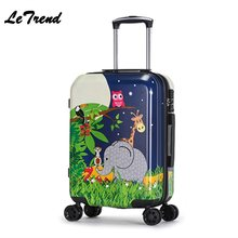 New Fashion 20inch Cute Cartoon Suitcases Wheel Kids Car/Dinosaur Rolling Luggage Spinner Trolley Children Travel Bag Student(China)