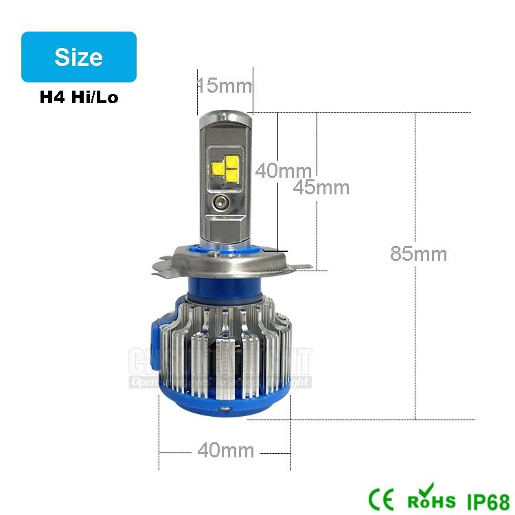 H4 Car Led Headlight High Power Auto H4-3 Hi lo HB2 9003 High Low 40W X2 White 6000K Bulb Repalcement Bi Xenon Headlamp (7)