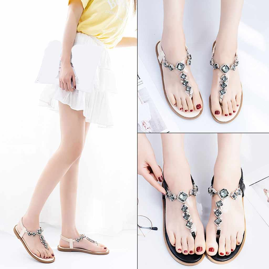 e4b59ac6939f1 Detail Feedback Questions about 2019 Hot sale fashion Women's Flat Bottom  Summer Open Toe Sandals Rhinestones Roman Style Casual Shoes comfortable on  ...