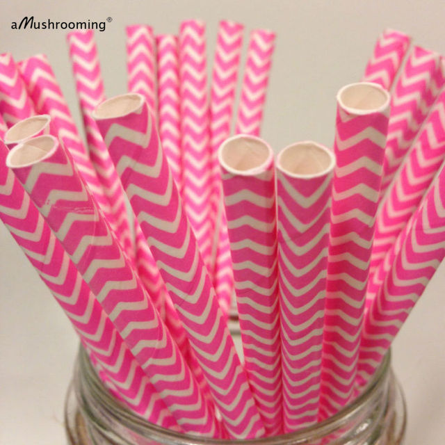 25 Hot Pink Chevron Paper Straws Hot Pink Zig Zag Straw Birthday