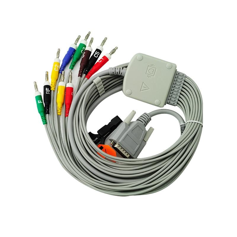 10-lead Shielded Ekg Cable Banana 4.0 15 Pins Connector For Nihon Kohden,k113b