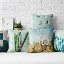 Funda de cojín, funda de almohada, fundas decorativas para cojines, plantas verdes Vintage, verano, playa, Cactus, Lino de algodón, 45cm * 45cm