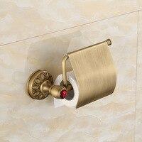 Antique Copper Brushed Paper Roll Holder Red Crystal Toilet Paper Holder Tissue Holder Restroom Bathroom Accessories