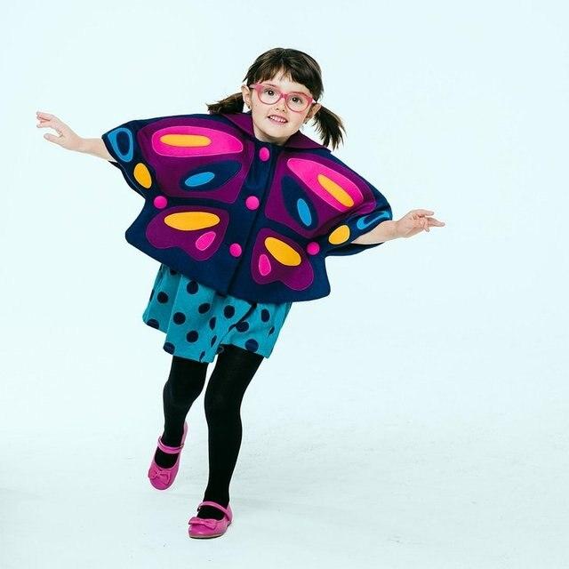 2016 осень зима новая Мода принцесса стиль Блестящий бабочка sharp наминка пальто для девочек дети с капюшоном Шерсть Плащ Пальто