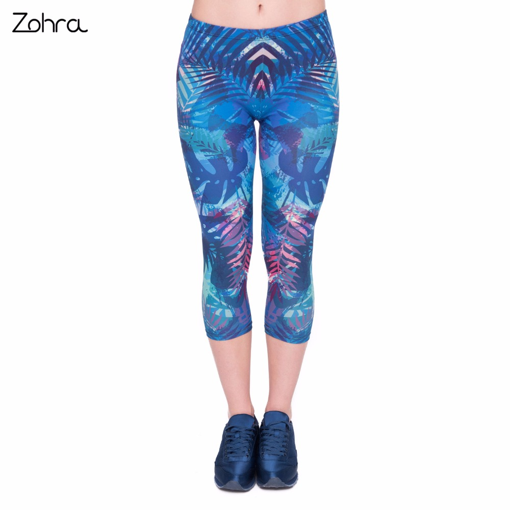 Zohra New Arrival Summer Women Capri   Leggings   Tropical Leaves Printing Sexy Mid-Calf 3/4 Fitness Leggins Capri Pants