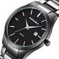 AMUDA Display Analógico Data Dos Homens de Aço Inoxidável Marca de Luxo Relógio de Quartzo Homens de Negócios WatchesMale Relógio masculino