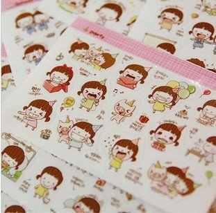 5 упаковок/партия Новый Милый Момо девушка стикер набор многофункциональные мультфильм поделки ПВХ стикер Знак Пост детские наклейки