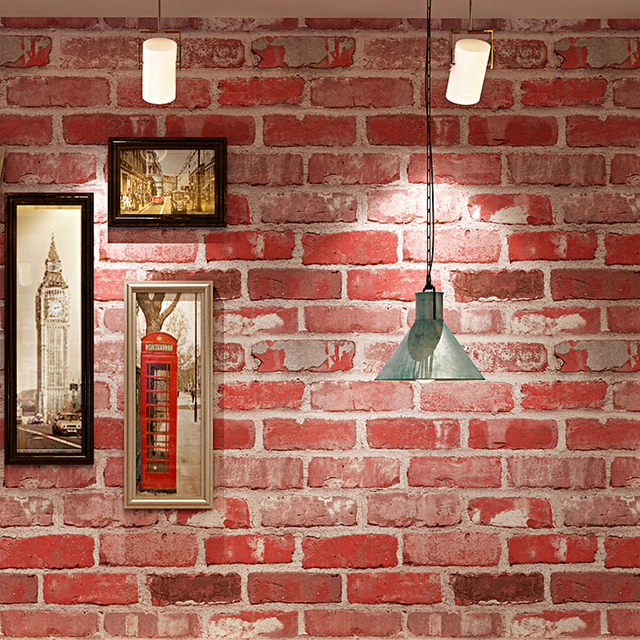 Bar Wallpaper: 3D Red Brick Pattern Wallpaper PVC Waterproof Thickened