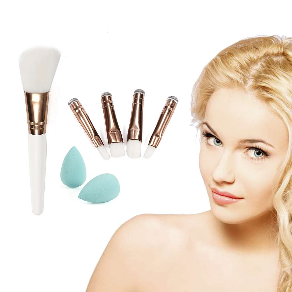 Portable White Handle 5Pcs Makeup Brushes Powder Eyeshadow Lip Brush Set+2 pcs Mini Puff Sponge Cosmetic Beauty Brush Tool Kit