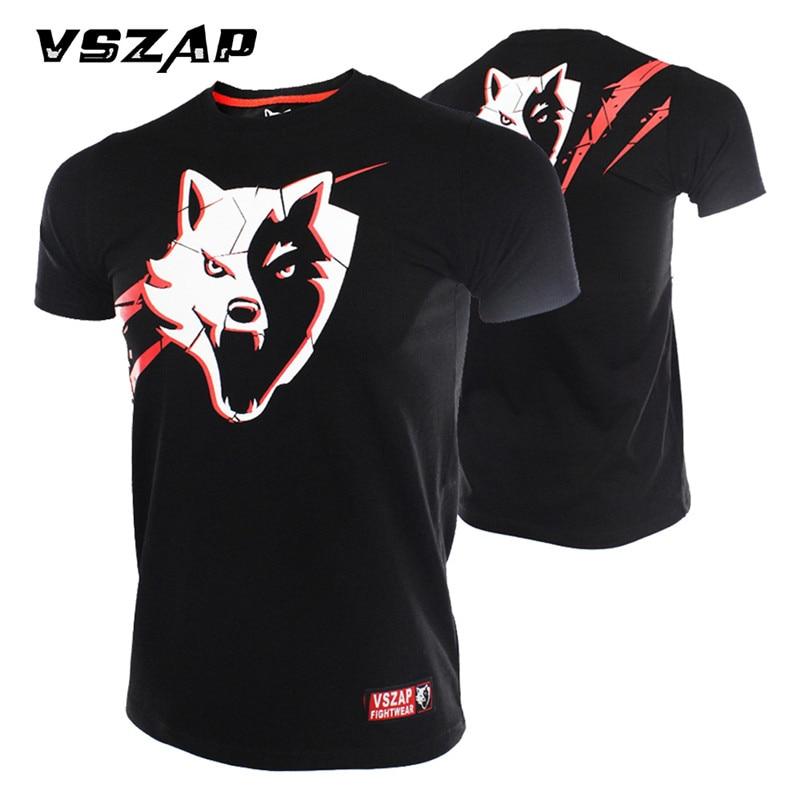 Boxing Jerseys VSZAP Built 2 Fight MMA T-shirt Fist Boxing Fitness Muay Thai Gym Men Cotton Breathable Comfortable Fitness Shirt