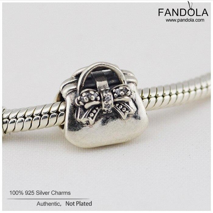 Подлинная стерлингового серебра 925 Талисманы одноцветное симпатичная сумочка Талисманы CZ DIY Талисманы Европейская мода Pandor ювелирные изде... ...