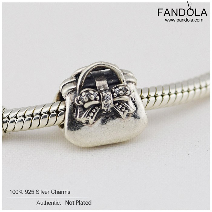 Genuine 925 Sterling Silver Charms Solid Cute Handbag Charms CZ DIY Charms European Fashion Pandor Jewelry 2015 Mom Gifts