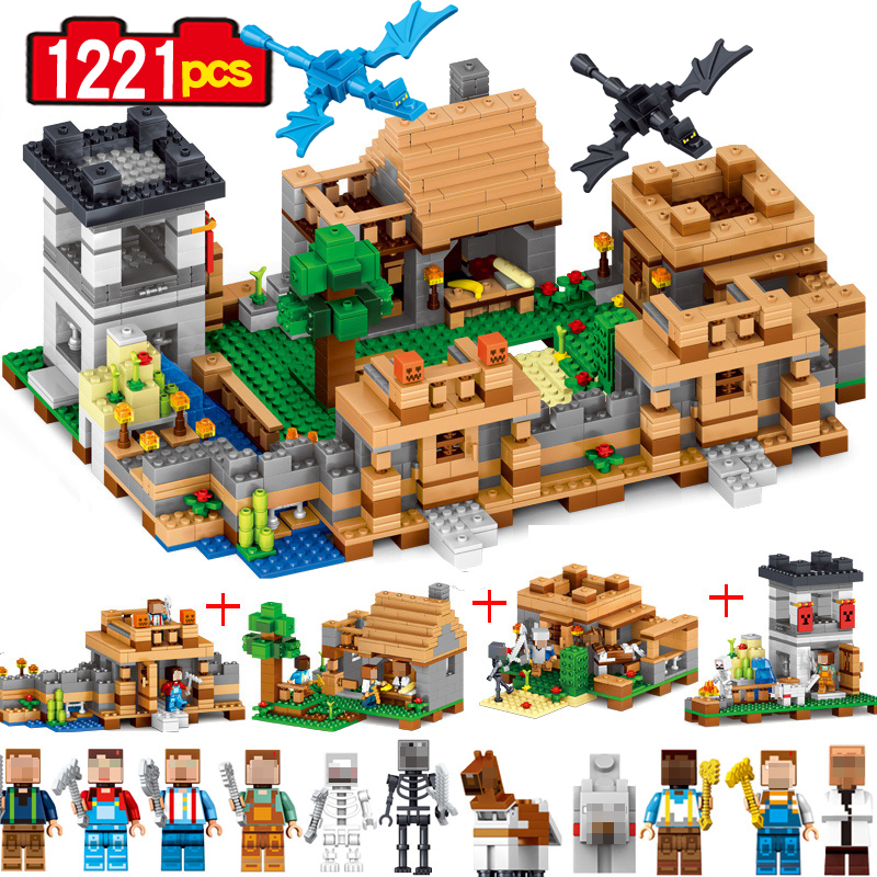 1221 pcs 4 In 1 Building Block Dream village blocks My World  Brick Educantion Toy Gift for children dream on me alissa convertible 4 in 1 crib