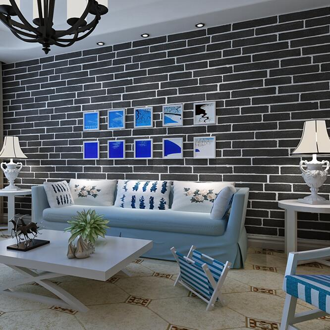 Modern Brown Grey White Black Brick Wallpaper For Walls 3 D