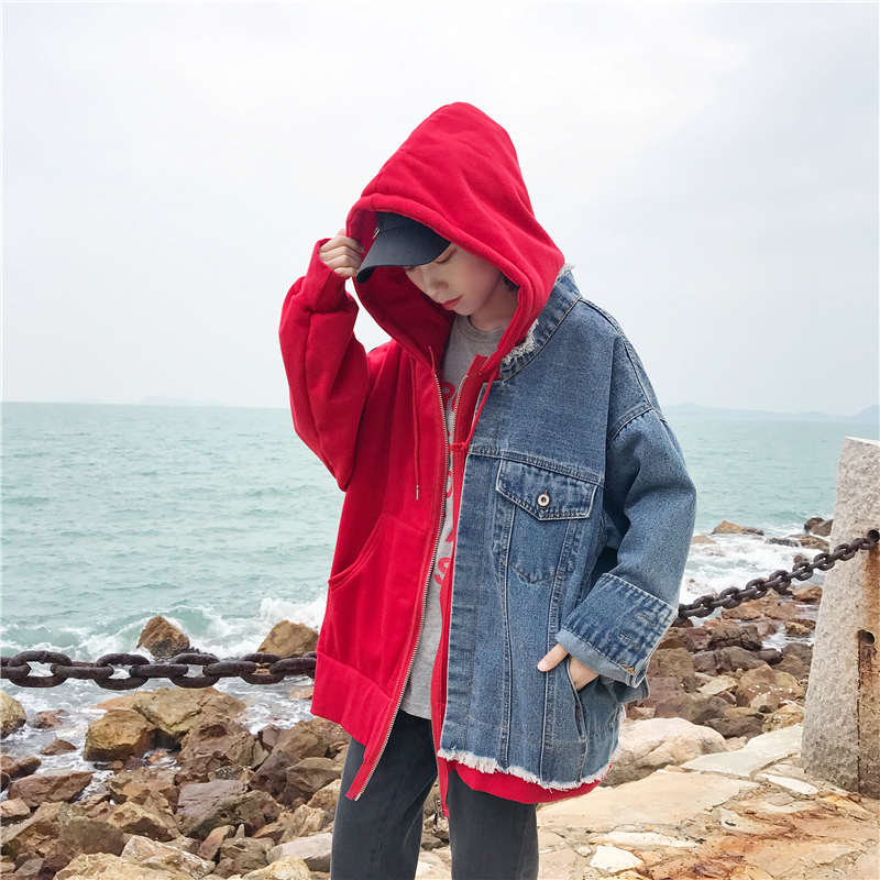 Casual Color 2018 Er197 Denim Female Spring Top red Hit Jacket Blue Hooded Hole Loose New Fashion Outwear Zipper Patchwork Coat 8TYn8rq