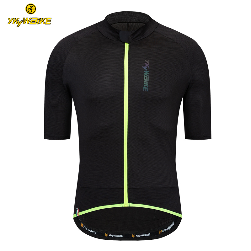 YKYWBIKE Men Cycling Short Jersey Pro Fit Road Bike MTB Short Sleeve Top Riding Shirt With Zip Reflective Logo Maillot Ciclismo
