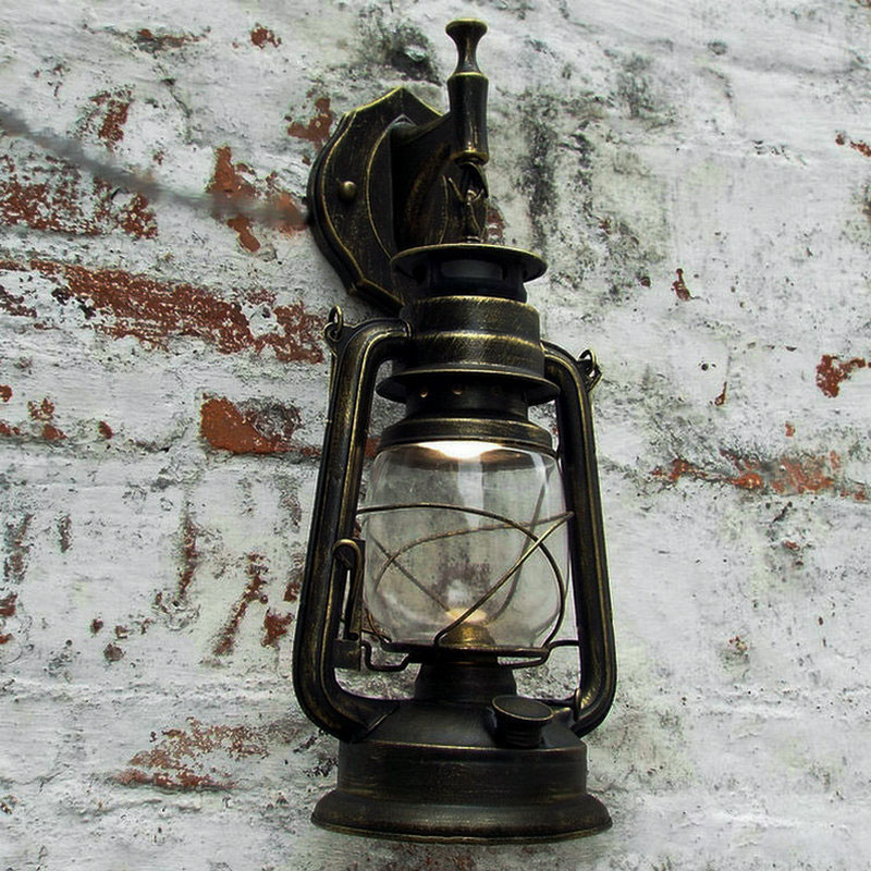 Creativity Retro Wall Lamp Glass Retro Kerosene Lamp European style Glass lampshade Iron for Study Bedroom Livingroom Decoration