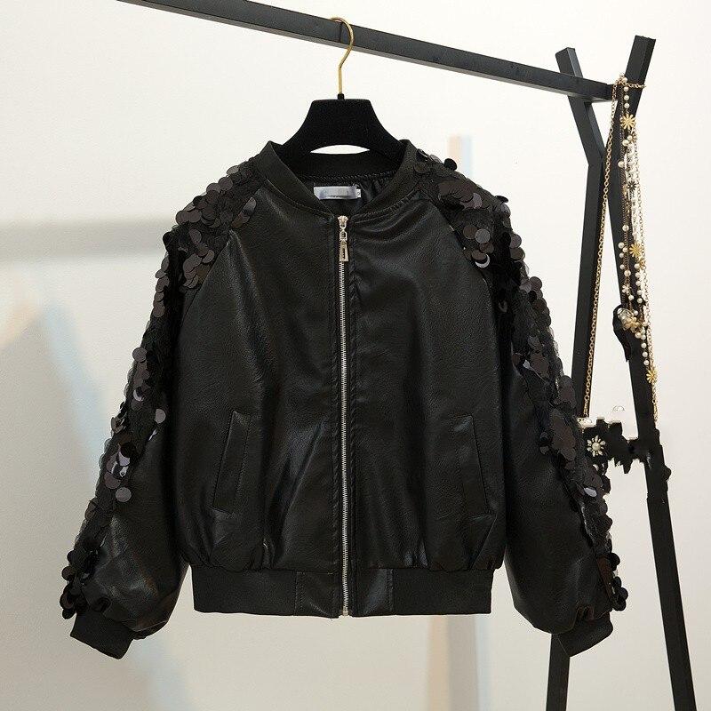 2018 Spring Korean PU   Leather   Jacket Women Fashion Short Coat Loose Sequined Jackets High-End Uniform Biker coat New