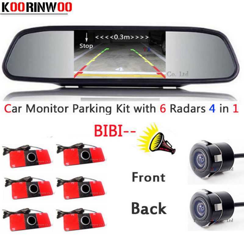 Parktronic Car parking Sensor 6 Video Front/Black Radars Buzzer Front camera Car Rear view camera Car detector Parking System dual core cpu car parking sensors 4 radars hd car monitor bluetooth mp5 4 fm auto rear view camera parktronic parking system