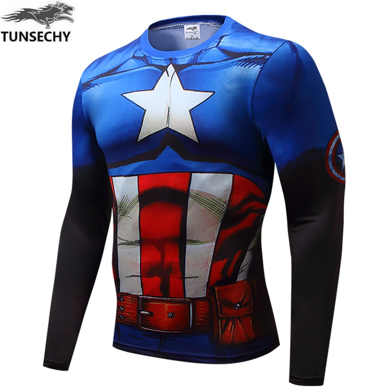 2018 digital printing brand fashion superman compression 3D round neck long sleeve T-shirt wholesale and retail free shipping
