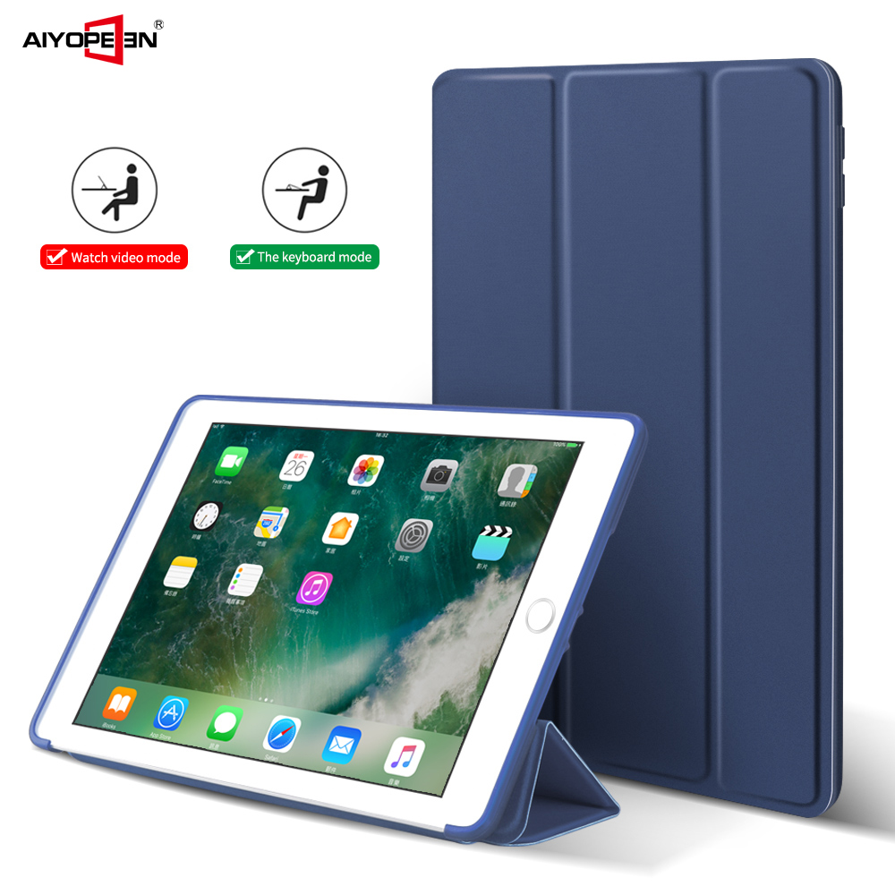 Case-For-ipad-9-7-inch-2017-2018-Pu-Leather-Smart-Wake-up-sleep-matte-transparent