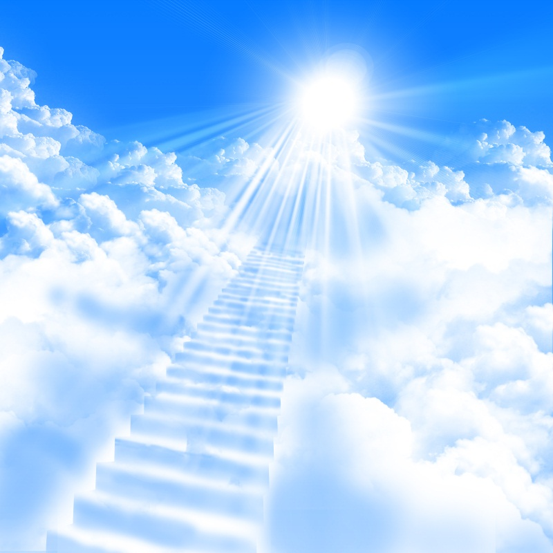 Image 2 Wallpaper: Laeacco Wonder Shining Cloudy Stairs To Heaven Blue Sky