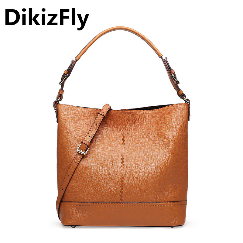 DikizFly Genuine Leather Handbag Luxury Bucket Handbags Women Bags Designer Bolsa Feminina Sac a Main Bolsos Tote Shoulder bags aitesen tote leather bag luxury handbags women messenger bags designer sac a main mochila bolsa feminina kors louis bags