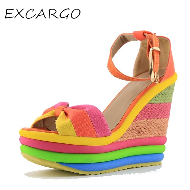 Small Size 32 33 Rainbow Women Sandals Platform Wedge Summer Shoes Colorful  Open Toe High Heels Shoes Ankle Strap Sandals Size 9