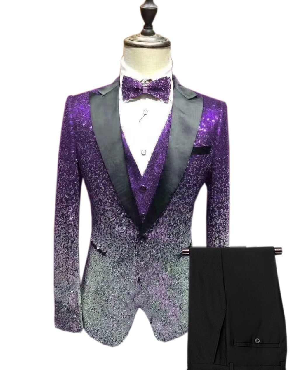 Traje de lentejuelas para hombre, 3 piezas, esmoquin de corte Delgado brillante, solapa de pico para fiesta, boda, novio, club nocturno (Blazer + chaleco + pantalón)