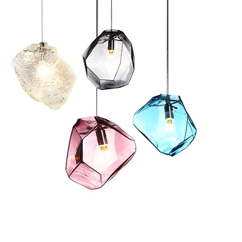 Nordic postmodern style colorful stone Pendant lights creative personality living room bar restaurant led pendant lamp glass